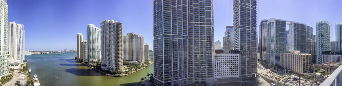 Panoramic view of Downtown Miami from building rooftop, FL