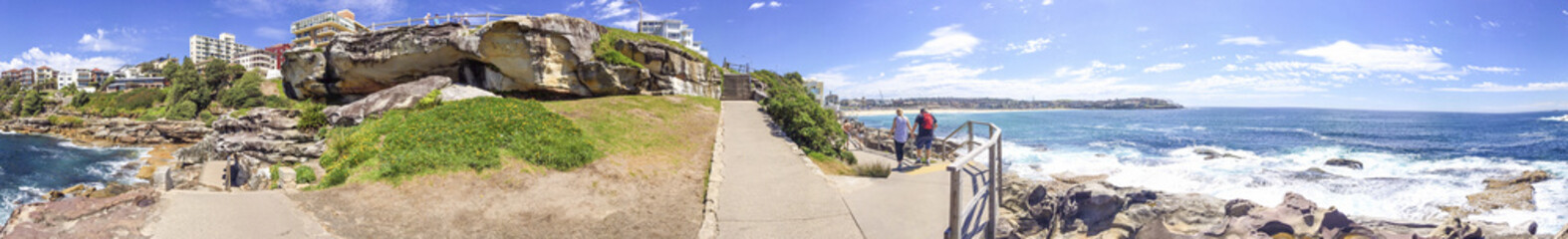 BONDI BEACH, AUSTRALIA - NOVEMBER 2015: Panoramic view of famous beach. This is a major attraction in Sydney