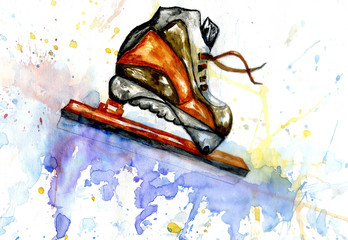 Watercolor Ice Skate