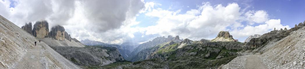Amazing panoramic view of Italian Dolomites on Tre Cime di Lavaredo