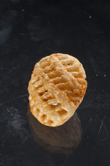 fried rice crackers round shape pizza flavor