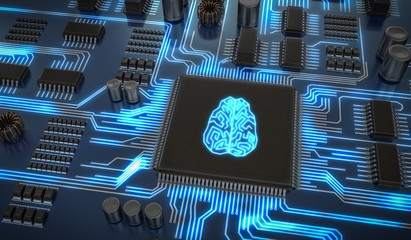 Artificial intelligence electronic circuit. Microchip with glowing brain. 3D rendered illustration.