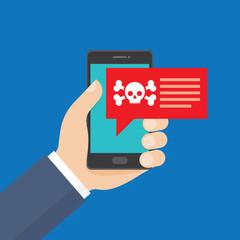Smartphone in danger, red alert.