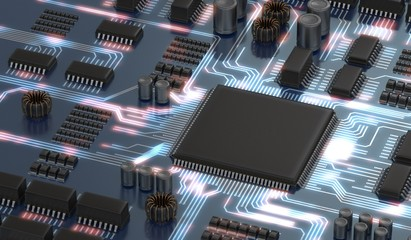 3D rendered illustration of electronical circuit with microchip or processor and glowing signals. Technology concept.
