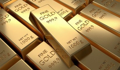 3D rendered illustration of many gold bars. Investment and economics concept.