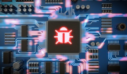 3D rendered illustration of malware or virus inside microchip on electronic circuit. Internet security and anti virus protection concept.