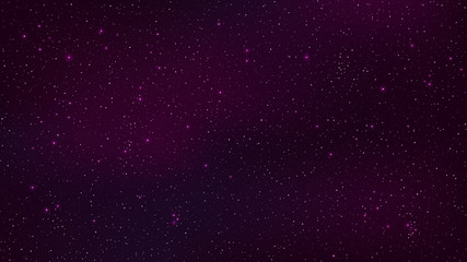 Abstract background. The beautiful starry sky is purple. The stars glow in complete darkness. Fantastic galaxy. Open space. Vector illustration