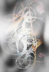 Music clef in space with stars. abstract color background. Music concept. Glass and metal effect.
