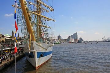 Sailboat at Hamburg port at port anniversary