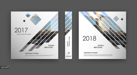 Abstract blurb. White, black brochure cover design. Fancy info banner frame. Ad flyer text font. Title sheet model set. Modern vector front page. Creative city view texture. Rhombus figures image icon