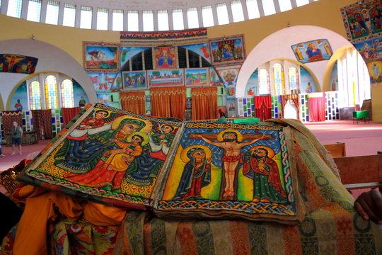 Beautiful Illustrated Ancient Bible in Ethiopian Church
