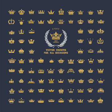 Vector collection of creative king and queen crowns symbols or logo elements