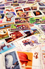 colorful old postage stamps