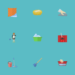 Flat Icons Besom, Sponge, Laundry And Other Vector Elements. Set Of Hygiene Flat Icons Symbols Also Includes Vacuuming, Bast, Wash Objects.