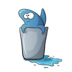 Cute, funny blue shark cartoon on water