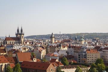 Skyline of Prague seen from Letna hill, Czech Republic.
