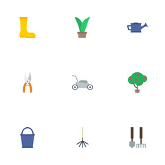 Flat Icons Bucket, Tools, Lawn Mower And Other Vector Elements. Set Of Horticulture Flat Icons Symbols Also Includes Bucket, Cutter, Boots Objects.