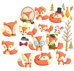 Hipster Fox vector set