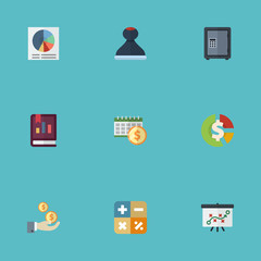 Flat Icons Algebra, Mark, Pie Bar And Other Vector Elements. Set Of Accounting Flat Icons Symbols Also Includes Dividends, Asset, Annual Objects.