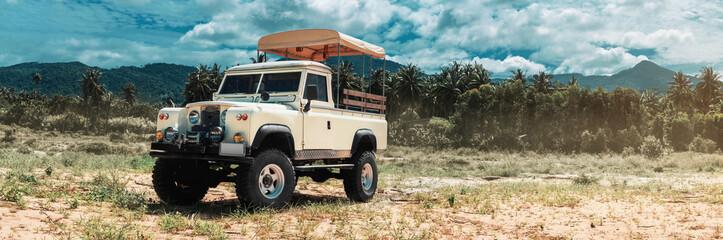 safari car on offroad ,adventure trail Wall mural