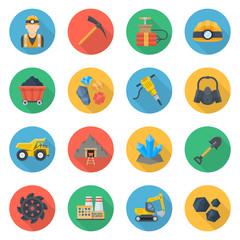Mining icons flat style set