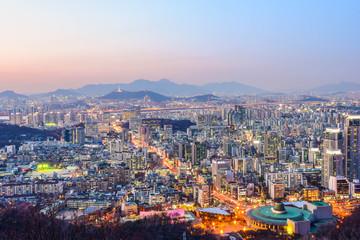 city skyline, seoul night, korea