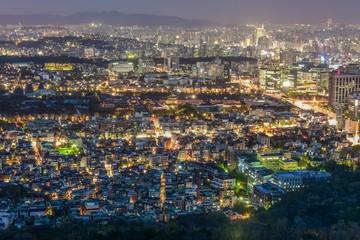 city skyline in seoul korea, around palace