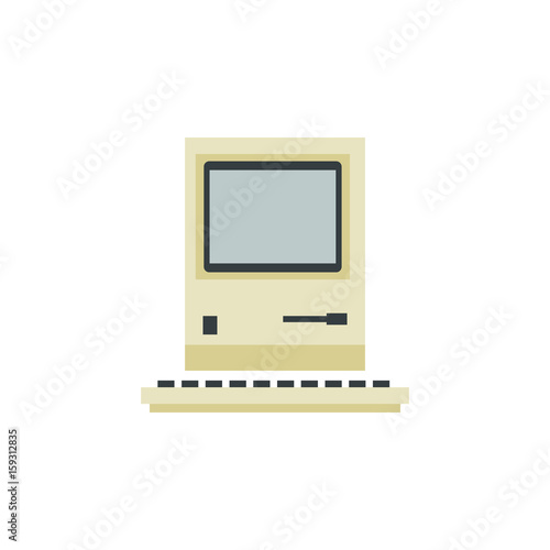 Isolated Retro Notebook Flat Icon  Computing Vector Element