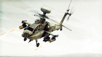 Attack Apache longbow helicopter gunship engaging a target firing its rockets. 3d rendering