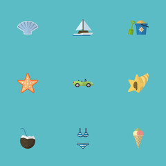 Flat Icons Conch, Beachwear, Shovel And Other Vector Elements. Set Of Beach Flat Icons Symbols Also Includes Bikini, Underwear, Cabriolet Objects.