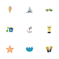 Flat Icons Sea Star, Sorbet, Fly And Other Vector Elements. Set Of Summer Flat Icons Symbols Also Includes Shovel, Cream, Toy Objects.