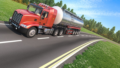 Red Tanker Truck on the Road
