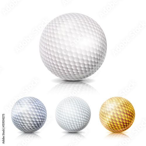 f1820ff1 Golf Ball Set. 3D Realistic Vector Illustration. White, Gold, Gray. Isolated  On White Background.