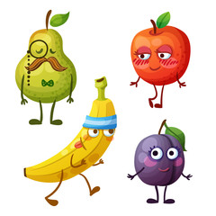 Funny fruit characters isolated on white background. Cheerful food emoji. Cartoon vector illustration: green pear, red apple, yellow banana, purple plum