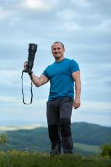 Wildlife photographer with camera