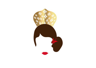 Portrait of modern Latin or Spanish woman, Lady with accessories peineta  and red flower ,Icon isolated, Vector illustration transparent background