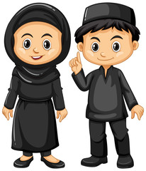 Indonesian boy and girl in black costumes