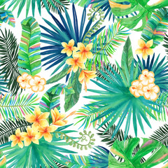 Watercolor Tropical Vibes - Seamless Vector Pattern