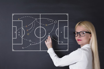 Business woman draw teamwork strategy on the blackboard