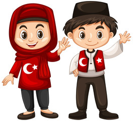 Boy and girl in Turkey costume
