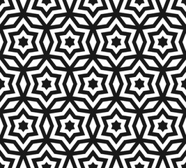 Vector seamless pattern, black & white ornament texture with linear stars, angular geometric figures. Abstract geometric monochrome background, repeat tiles. Design for prints, decor, fabric, textile