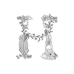 Tropical floral summer pattern hand drawn ornamental font with palm beach leaves, flower. Letter H