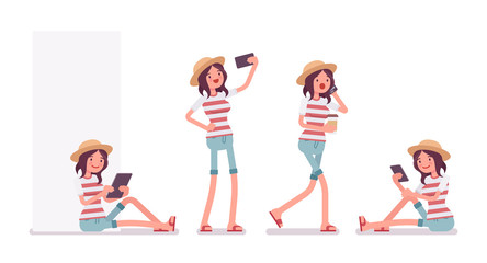 Young woman with different gadgets