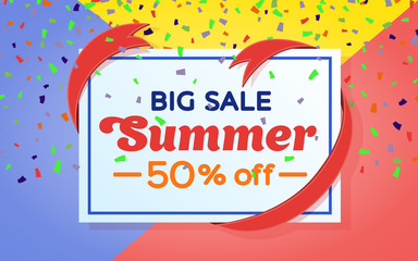 Summer sale background banner. Colored background and confetti. Sale and discounts banner design. Frame with ribbon. Template for advertising and poster. Vector illustration