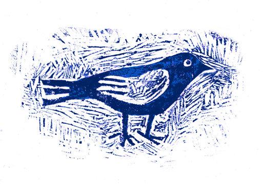 Bird, Linocut, Graphic Illustration, print