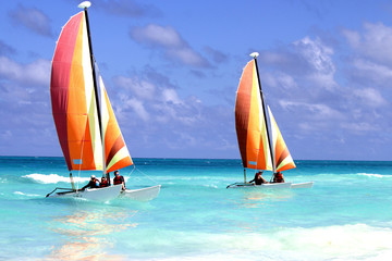 Two Catamarans on the ocean