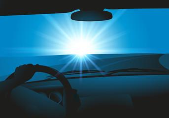 voiture - habitacle - route - vitesse - virage -conducteur - volant - pilote