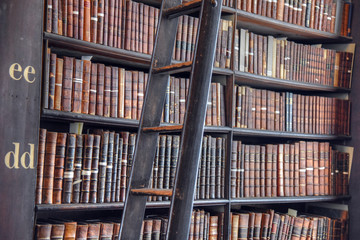 Library books on the shelf.