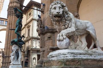 Aluminium Prints Artistic monument Marble statue of Lion at Loggia Dei Lanzi in front of Palazzo Vecchio, Florence Italy