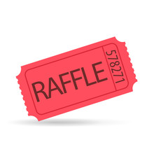 red raffle ticket.